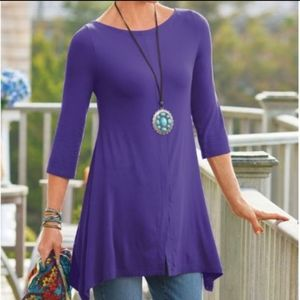 Soft Surroundings Purple Timely Boatneck Tunic 3X